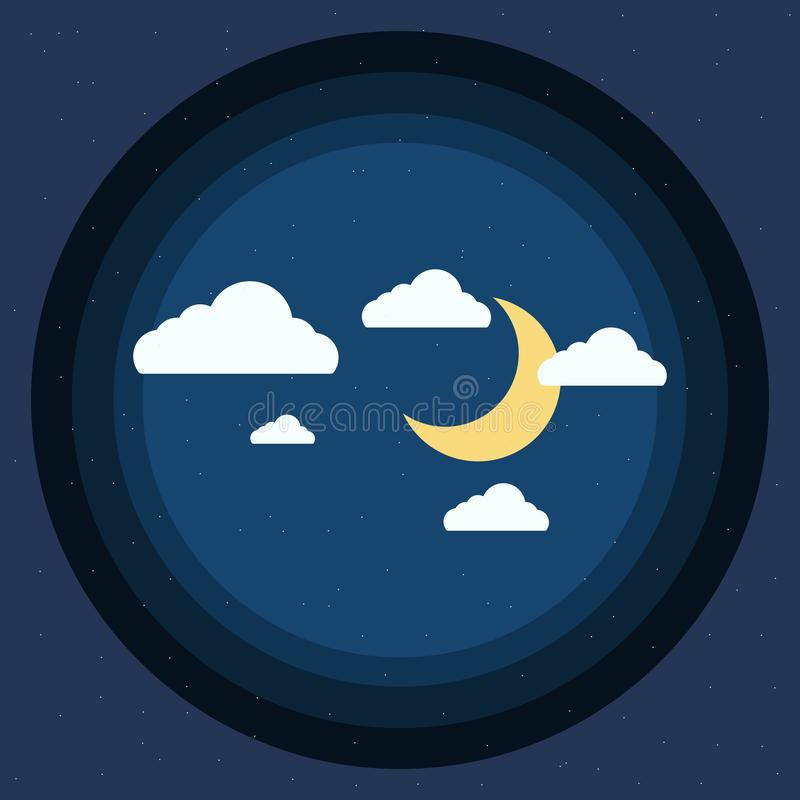 Illustration of circle sky with beautiful moon and clouds royalty free stock photos