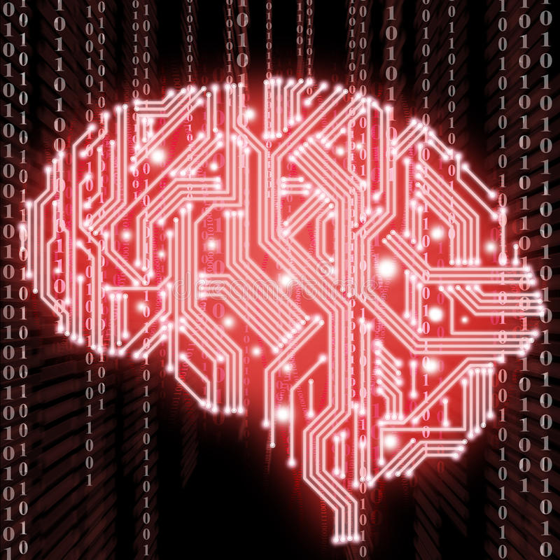 Illustration of circuit board in human brain form royalty free stock image