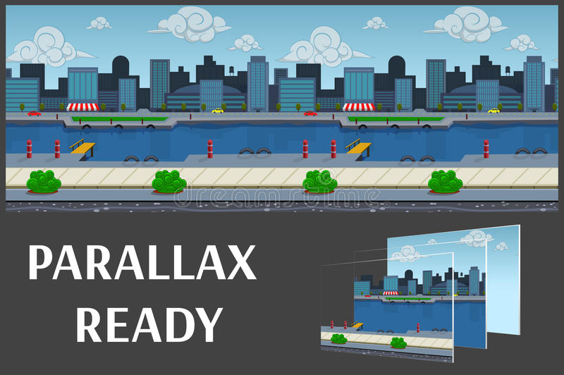 Illustration of a city landscape ,with buildings and river, vector unending background with separated layers. royalty free illustration