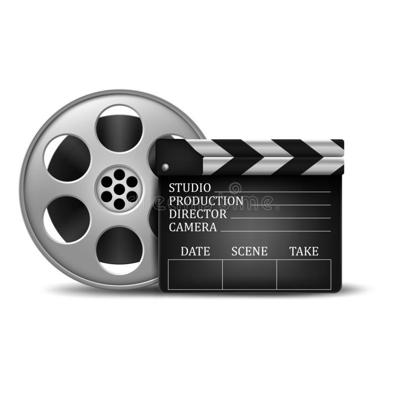 Clapperboard and a film reel. Illustration of Clapperboard and a film reel vector illustration