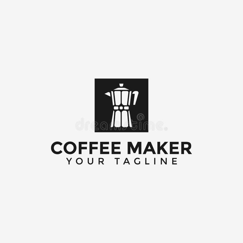 Classic Coffee Maker Moka Pot Logo Design Template royalty free stock photos