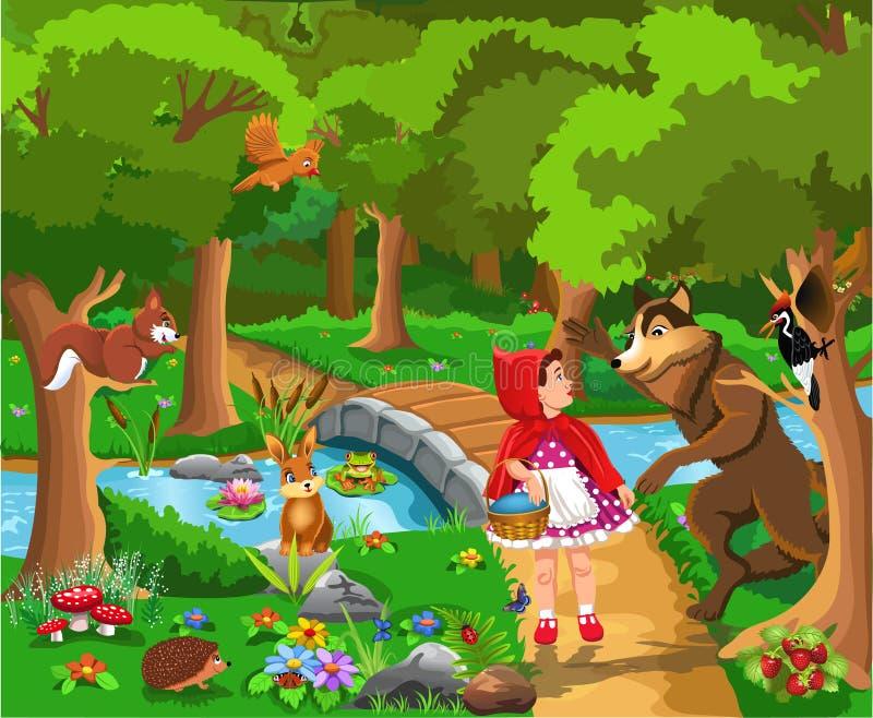 Illustration classique de vecteur de conte de fées de capuchon rouge illustration de vecteur