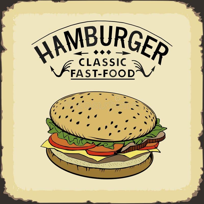 Illustration classique de vecteur de couleur d'aliments de préparation rapide d'hamburger illustration stock
