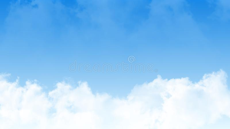 Illustration of clear blue sky with clean white clouds. Large copy space area. For product art background, laptop wallpaper.  stock images