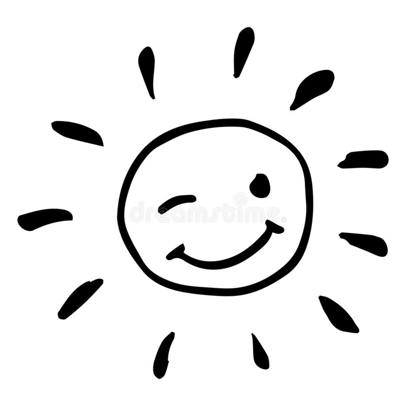 Illustration clignotante heureuse noire et blanche cr?ative de vecteur du soleil illustration libre de droits