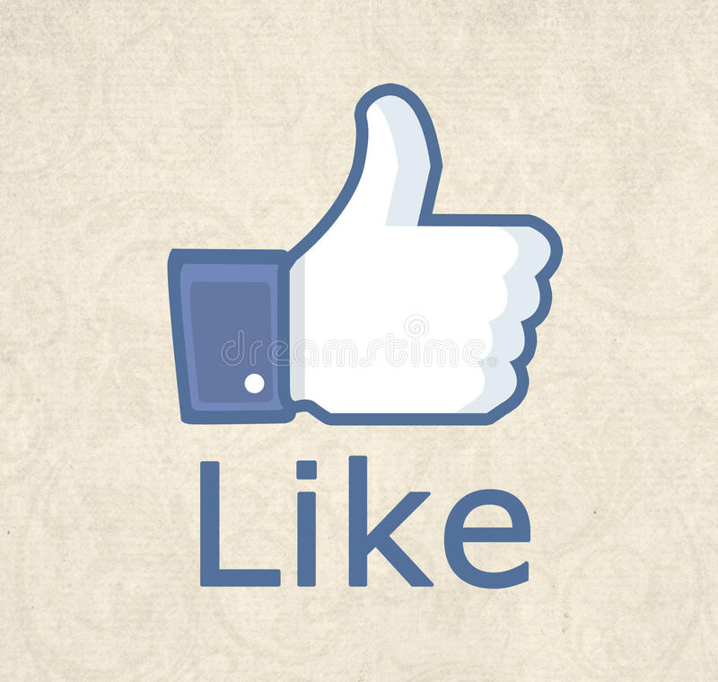 Facebook thumb like!. Illustration of the like thumb retro floral background up with blue contour with box bubble and shadow, An illustration of facebook like