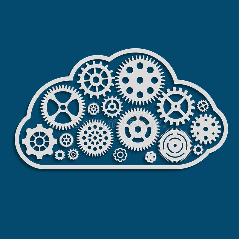 illustration of cloud made of cogwheels stock illustration