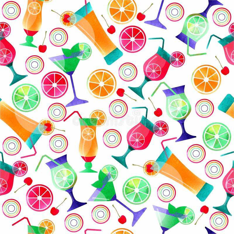 Illustration of Cocktail hand drawn, decorative icons set . Watercolor effects. seamless summer pattern vector illustration