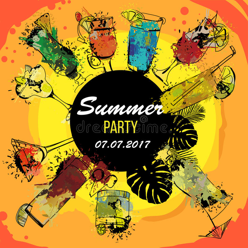 Illustration of Cocktail party poster designer. Template for bar menu. Alcohol, Summer drinks. Spray, spot watercolor royalty free illustration
