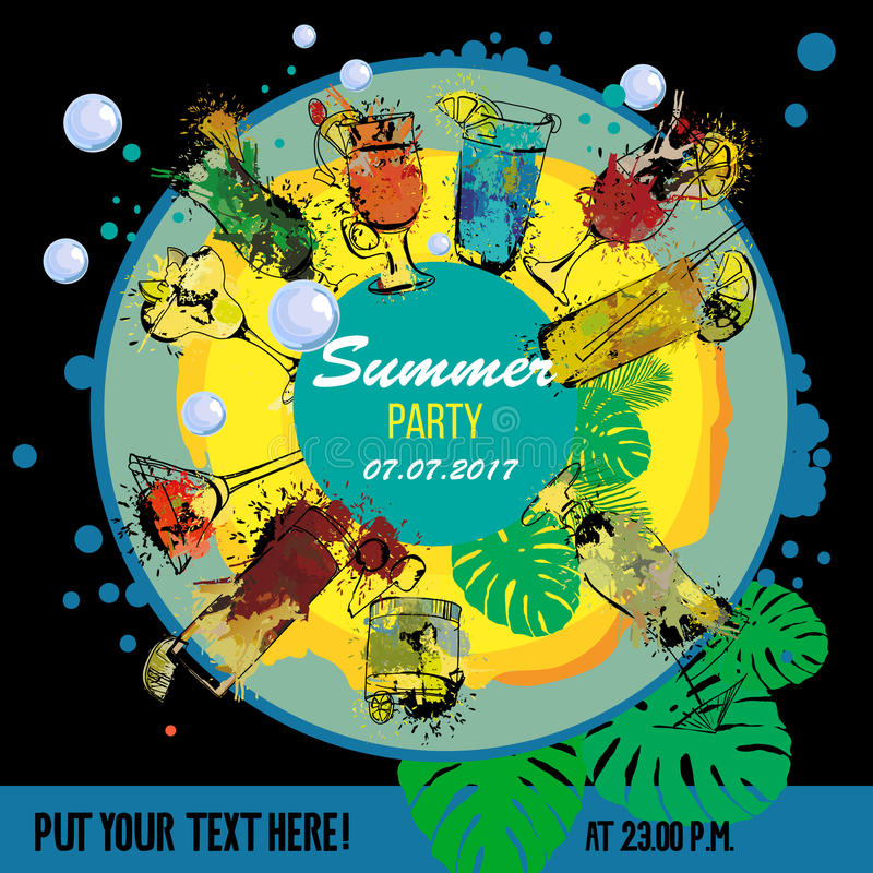 Illustration of Cocktail party poster designer. Template for bar menu. Alcohol, Summer drinks. Spray, spot watercolor stock illustration