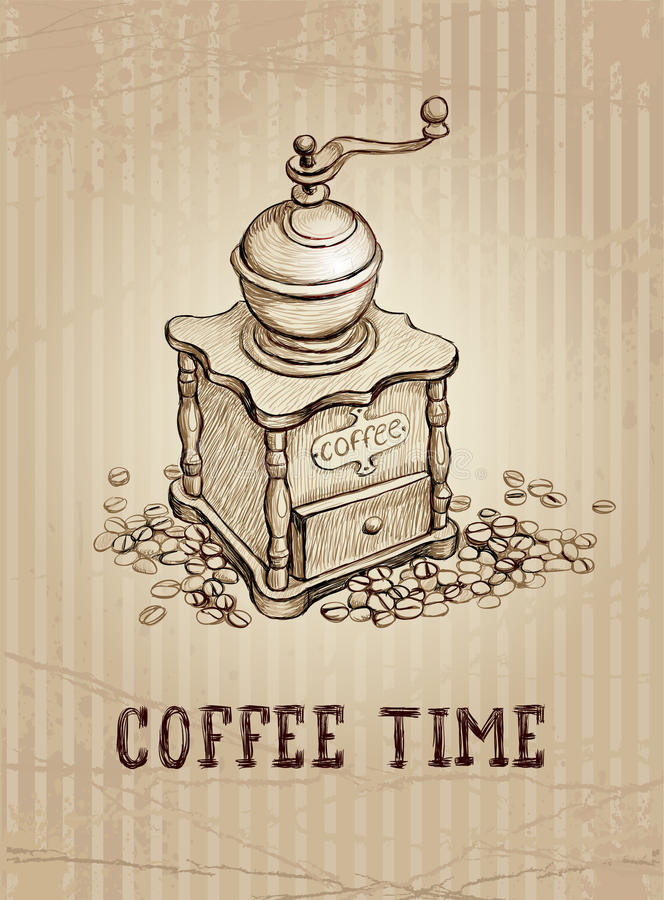 Coffee Grinder Drawing ~ Illustration of coffee grinder royalty free stock image