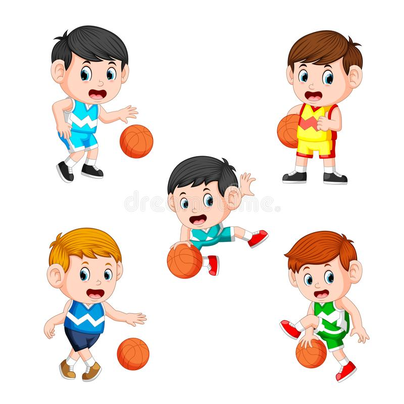 Collection of the basketball children player with the different posing. Illustration of collection of the basketball children player with the different posing royalty free illustration