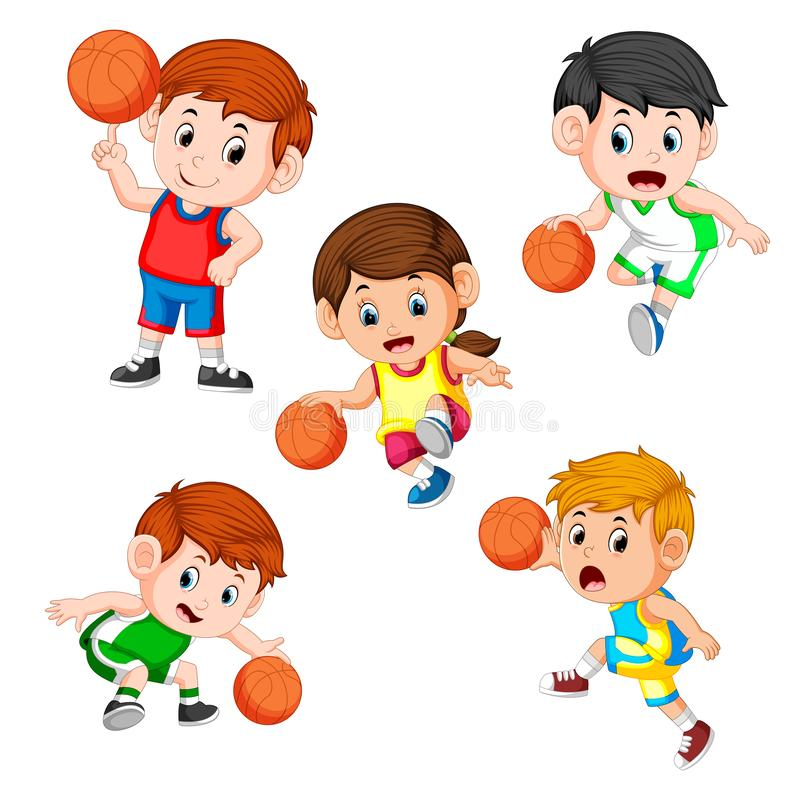 Collection of the basketball profesional children player with the different posing. Illustration of collection of the basketball profesional children player with vector illustration