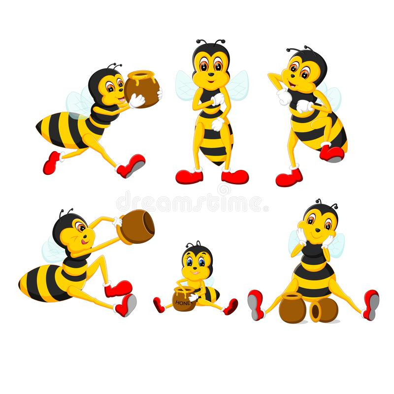 The collection of the big yellow bee in the different posing. Illustration of the collection of the big yellow bee in the different posing vector illustration