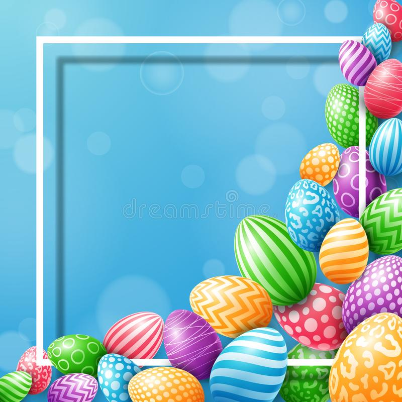 Collection of colorful eggs with frame empty for text on a blue background stock illustration