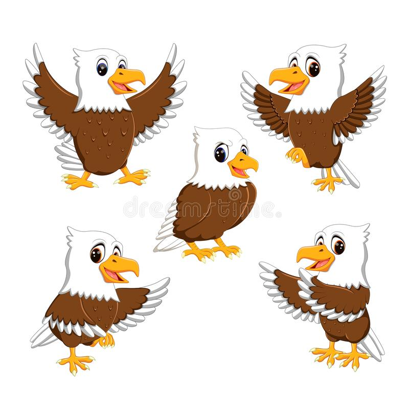 Collection of the dashing eagle in the different posing and expression. Illustration of collection of the dashing eagle in the different posing and expression stock illustration