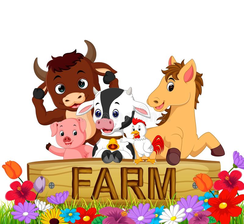 Collection farm animals in the garden royalty free illustration