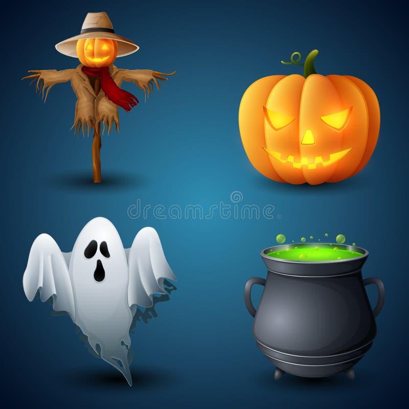 Collection of Halloween symbols vector illustration