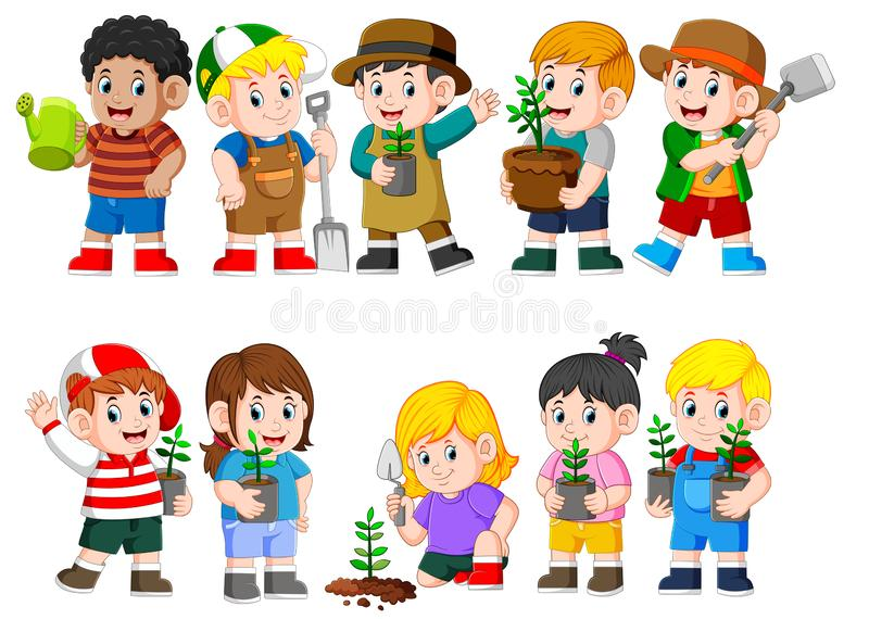 Collection of kids holding young green plant stock illustration