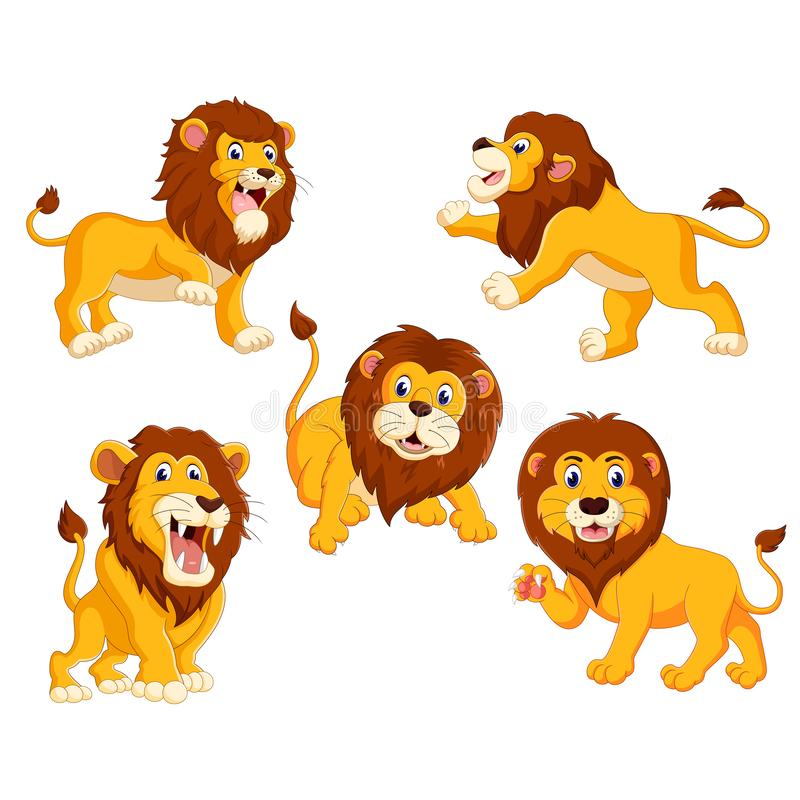 The collection of the lions with different posing. Illustration of the collection of the lions with different posing stock illustration