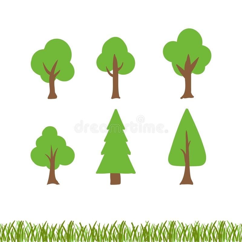 Free Illustration Collection Tree Cartoon Flat Royalty Free Stock Photography - 120529207