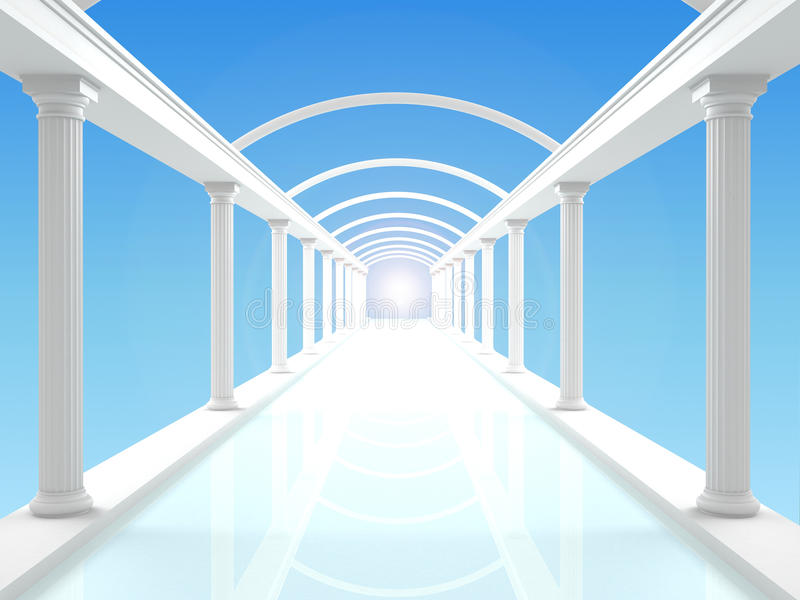 Illustration of the colonnade 4. 3D illustration of a white colonnade or corridor against the blue clear sky stock illustration