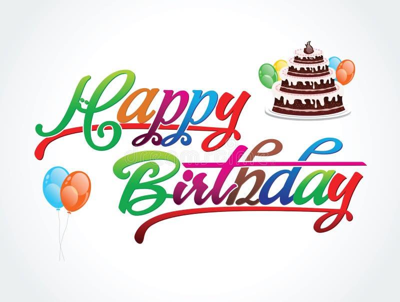 Illustration colorée abstraite de vecteur des textes de joyeux anniversaire illustration de vecteur