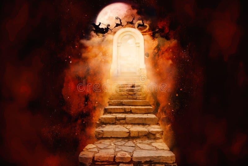 Illustration colorée artistique du rendu 3d de résumé de l'illustration de la porte d'un autre ciel dimensionnel illustration stock