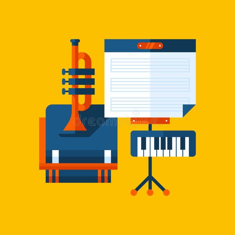 Illustration colorée au sujet d'éducation de musique dans le style plat moderne Icône soumise d'université Instruments de musique illustration de vecteur