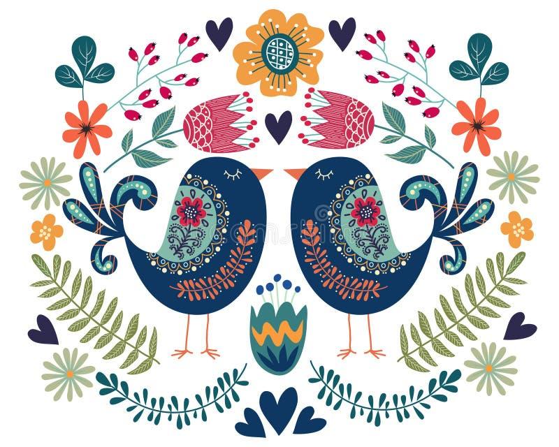 Illustration colorée avec l'oiseau de couples, les fleurs et les éléments folkloriques de conception illustration stock