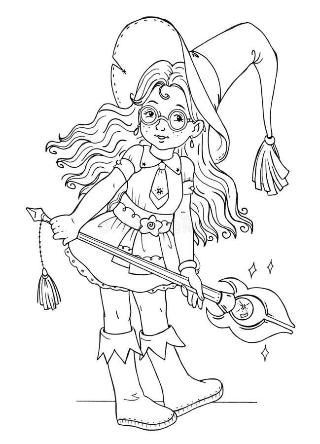 Illustration colorée avec une jolie sorcière adolescente illustration stock
