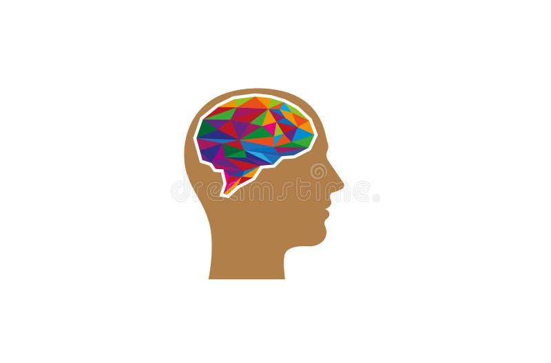 Illustration colorée créative de Brain Head Logo Symbol Vector illustration stock