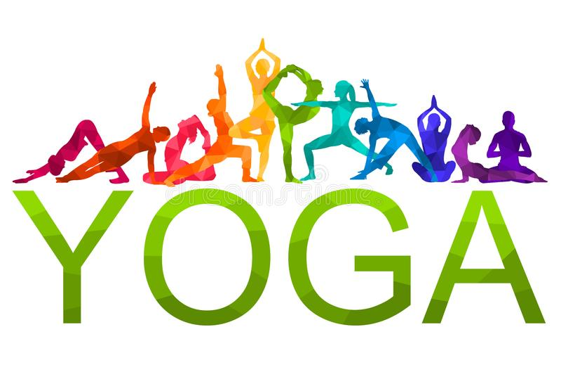 Illustration colorée détaillée de vecteur de yoga de silhouette Concept de forme physique gymnastique AerobicsSport illustration libre de droits