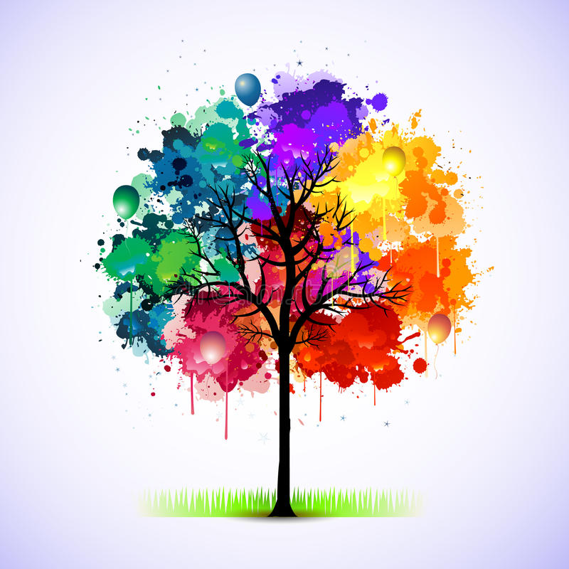 Illustration colorée d'abrégé sur arbre illustration stock