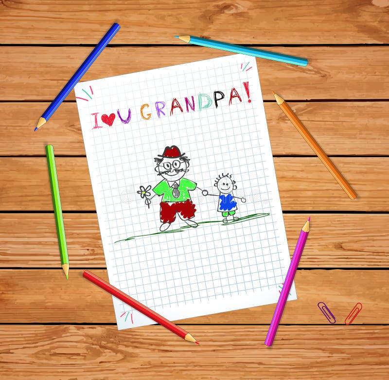 Illustration colorée d'enfants avec le grand-papa et le petit-fils ensemble illustration libre de droits