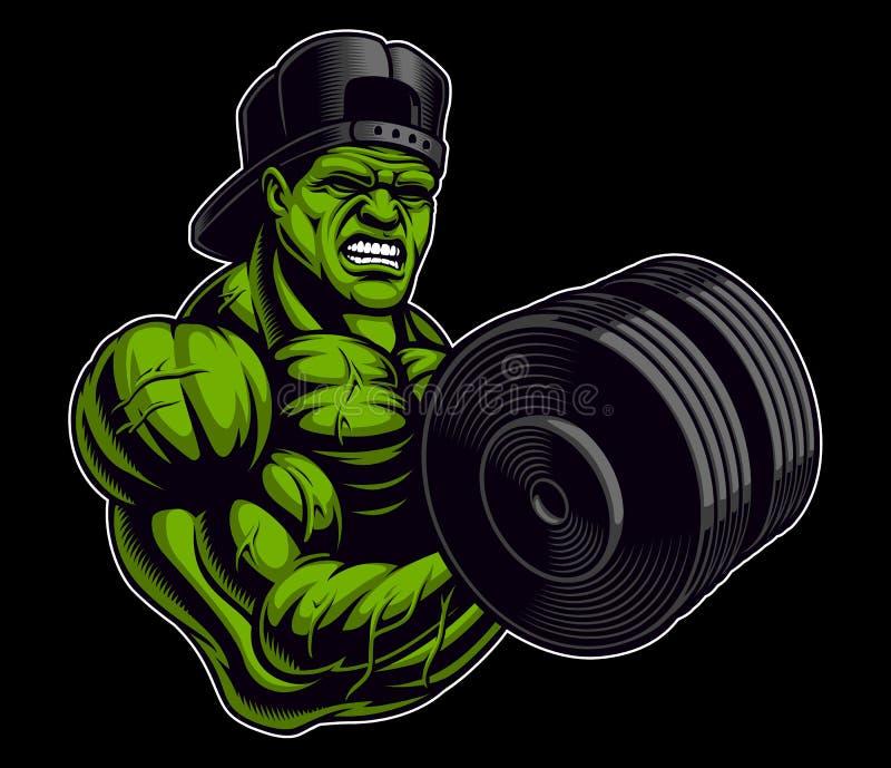 Illustration colorée d'un bodybuilder avec l'haltère illustration stock