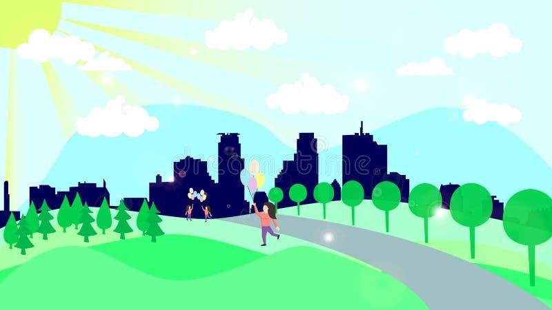 Illustration colorée d'une ville ensoleillée avec les résidents de marche illustration stock