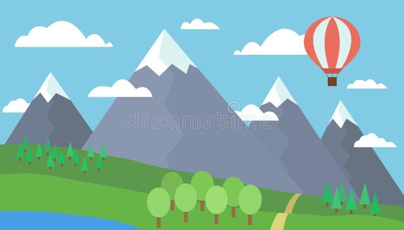 Illustration colorée de bande dessinée d'un paysage de montagne avec une colline, une forêt et un lac sur un pré herbeux sous un  illustration stock