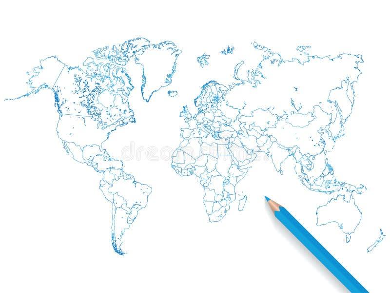 Illustration colorée de carte du monde de crayon sur un fond blanc illustration stock