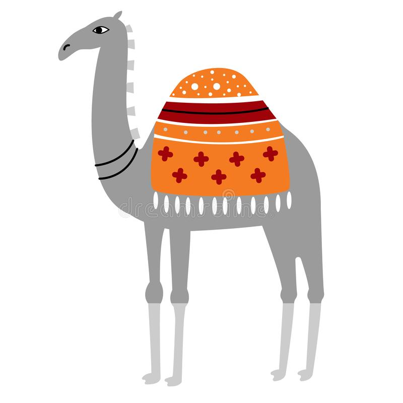 Illustration colorée de chameau sur le fond blanc illustration de vecteur