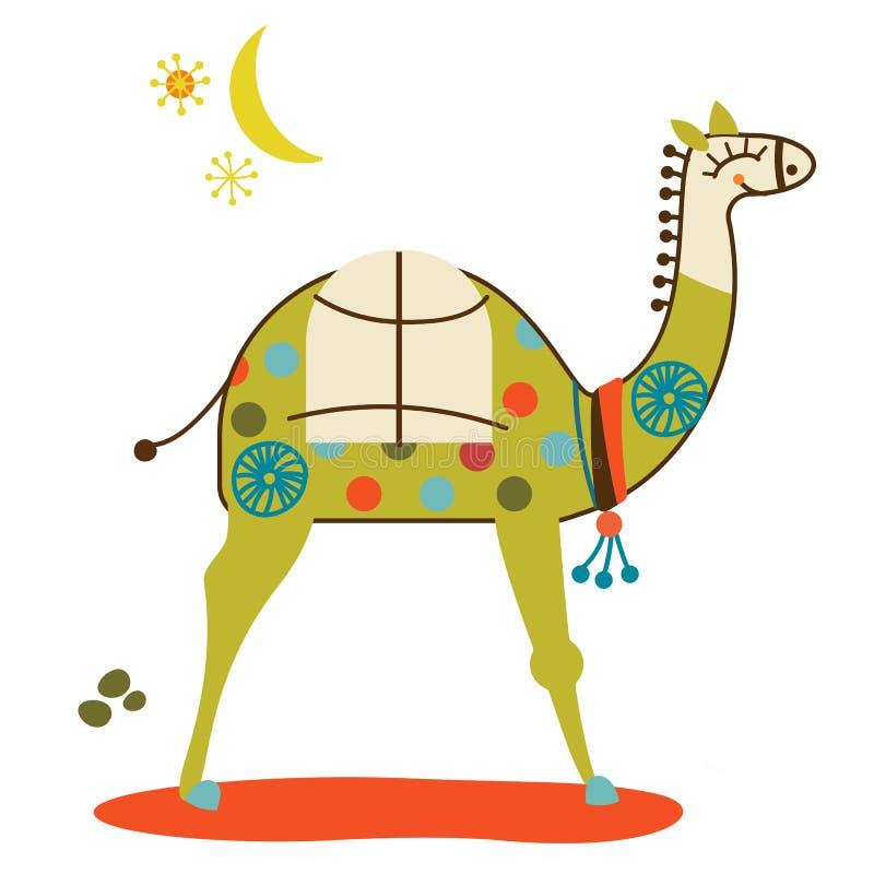 Illustration colorée de chameau sur le fond blanc illustration libre de droits