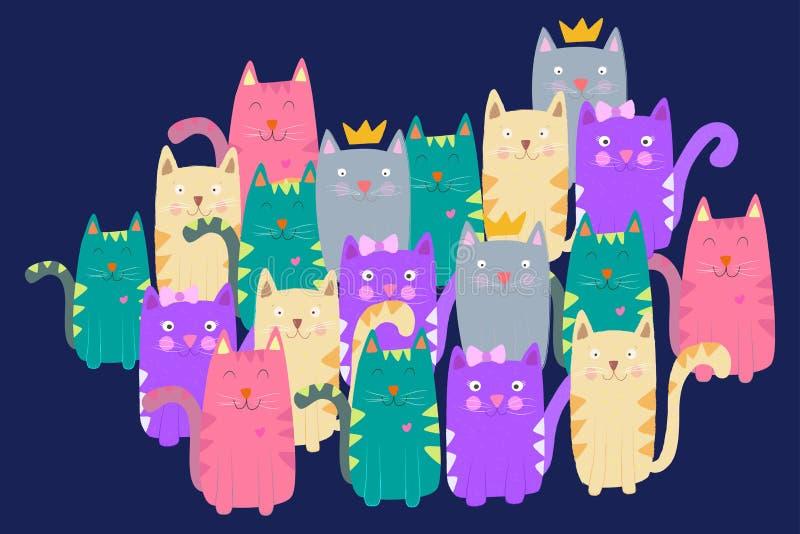 Illustration colorée de chats images libres de droits