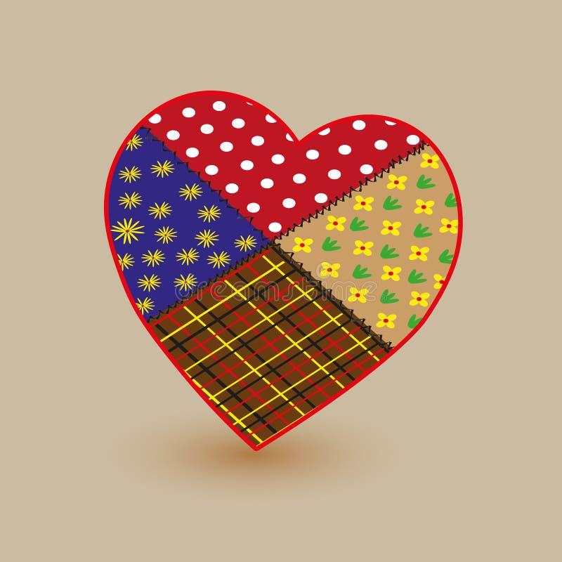 Illustration colorée de coeur de patchwork image stock