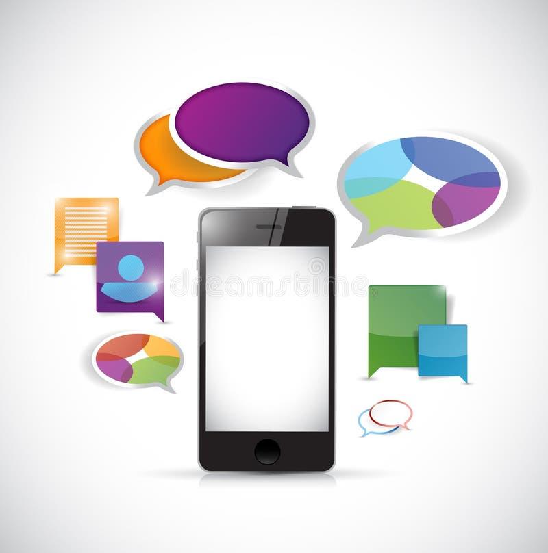 Illustration colorée de communication de téléphone intelligent illustration stock