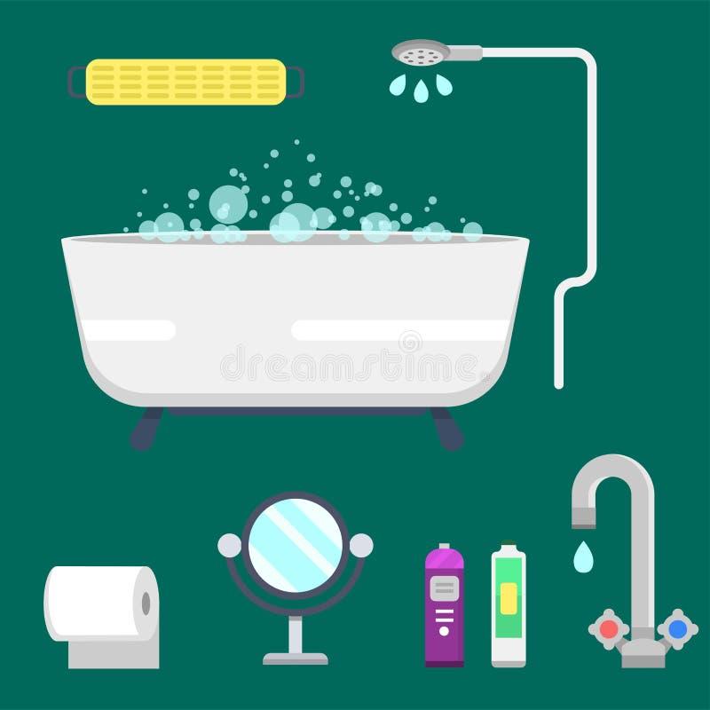 Illustration colorée de douche moderne d'icônes d'équipement de Bath pour la conception intérieure de vecteur d'hygiène de salle  illustration de vecteur