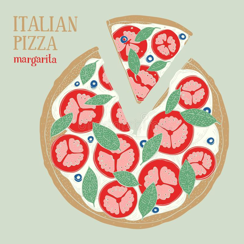 Illustration colorée de margarita italienne de pizza Illustration tirée par la main de vecteur illustration libre de droits