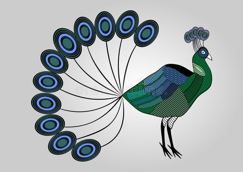 illustration colorée de paon avec les parties du corps modelées hachées, oiseau décoratif, coloration d'anti-effort illustration libre de droits