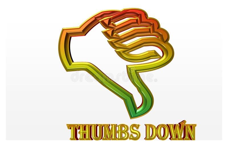 Illustration colorée de ` de pouce de ` vers le bas avec la ligne d'or du danger illustration libre de droits