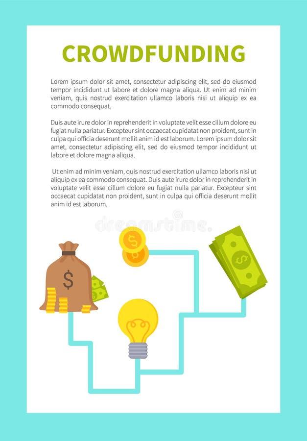 Illustration colorée de vecteur de carte de Crowdfunding illustration stock