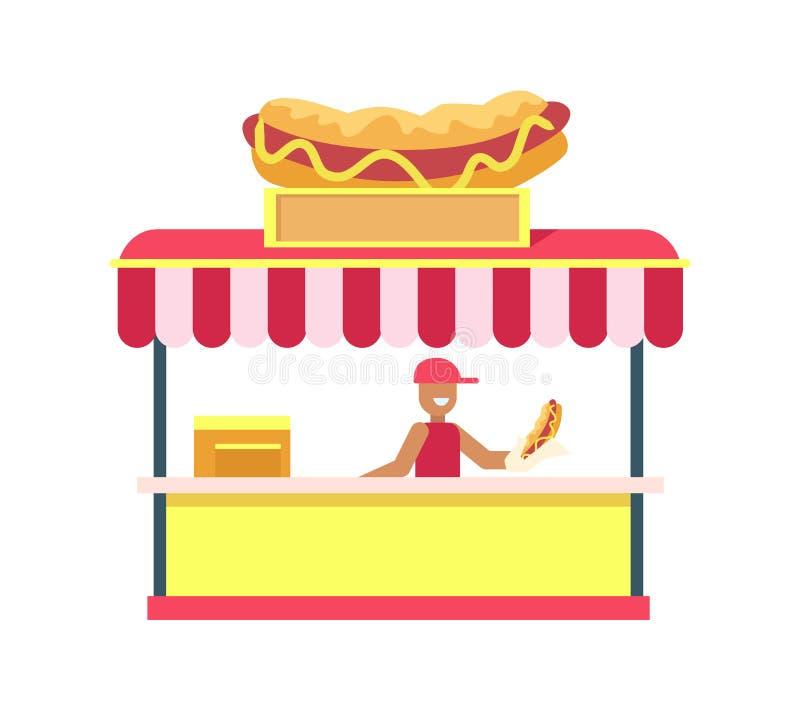 Illustration colorée de vecteur de carte de support de hot dog illustration libre de droits